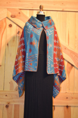 Turquoise Zuni Asymmetrical Button Collar Cape