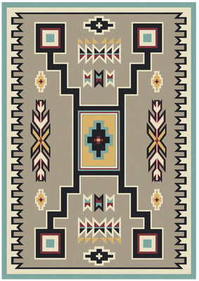 American Dakota Rug - Old Crow - Suede Turquoise