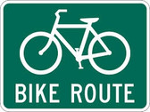 "Green and White ""Bike Route Sign"" Sign, 24"" x 18"", High Intensity Prismatic Reflective"