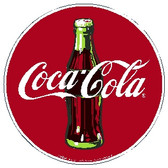 "red white and brown sign, circle shape, features ""Coca-Cola"" and a coke bottle"