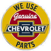 "circle shape, yellow red and black sign, ""Chevrolet"""