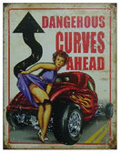 "circle shape, red white and blue sign, ""Dangerous curves ahead"""