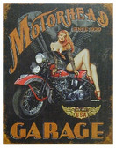 "rectangular sign, features a girl on a motorcycle, ""Motor-head Garage"""