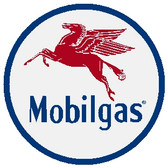 "circle shape, red white and blue sign, features a Pegasus and ""mobile gas"""