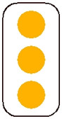 rectangular, white and yellow sign. features three yellow dots