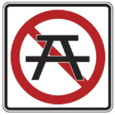 "Black, Red, and White ""No Picnics"" Sign, 18"" x 18"", High Intensity Prismatic Reflective"