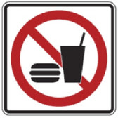 """Black, Red, and White """"No Food Or Drink"""" Sign, 18"""" x 18"""", High Intensity Prismatic Reflective"""