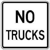 "Black and White ""No Trucks"" Sign, 24"" x 24"", High Intensity Prismatic, Reflective"