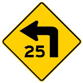 "diamond shape, yellow and black sign, features an arrow turning left and ""25"""