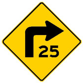 "diamond shape, yellow and black sign, features an arrow turning right and ""25"""