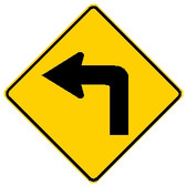 diamond shape, yellow and black sign, features an arrow turning left