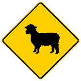 diamond shape, black and yellow sign, features a goat.