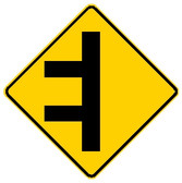 diamond shape, yellow and black. shows a road with two intersecting roads.