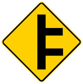 diamond shape, yellow and black sign.