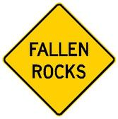 "Diamond shape, yellow and black, ""Fallen Rocks"""