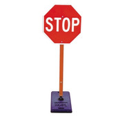 The Portable Stop Sign comes standard with our patented anti-twist reactive spring system that will ensure the sign will stay in place after impact.