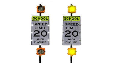 Double Flashing School Zone Sign