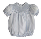 Feltman Brothers - Infant Girls Blue Smocked Bubble