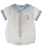 Baby Boys White Sailor Layette Bubble Feltman Brothers