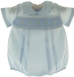 Baby Boys Newborn Blue Smocked Bubble Take Home Outfit