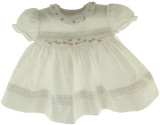 Feltman Brothers Newborn Girls White Smocked Portrait Dress