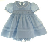 Feltman Brothers Infant Girls Blue Smocked Dress & Diaper Panty