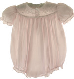 Feltman Brothers Infant Girls Pink Embroidered Bubble Outfit