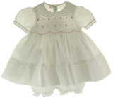 Feltman Brothers White & Pink Smocked Infant Girls Dress