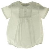 Feltman Brothers Newborn Boys White Bubble Outfit with Pintucks