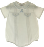 Feltman Brothers Newborn Boys White & Blue Bubble Outfit with Bear
