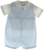 Infant Boys Blue Monogrammed Romper Outfit - Petit Ami