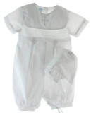 Infant Boys White Christening Romper Cross Collar - Petit Ami