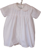 Infant Boys White Christening Romper & Hat - Petit Ami