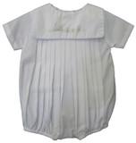 Infant Boys White Train Bubble Outfit - Petit Ami