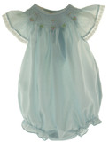 Infant Girls Blue Smocked Angel Bishop Bubble Outfit Rosalina