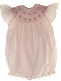 Infant Girls Pink Smocked Angel Bishop Bubble Outfit with Pearls