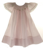 Girls Pink Smocked Linen Angel Bishop Dress Rosalina