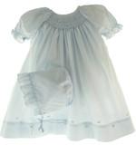 Infant Girls Blue Smocked Daydress & Bonnet - Petit Ami