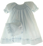 Infant Girls Blue Smocked Daydress & Bonnet - Petit Ami