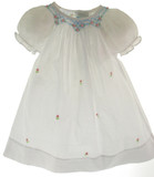 Infant Girls White Smocked Daygown Blue Smocking - Rosalina