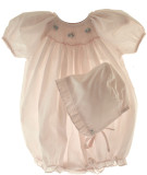 Newborn Baby Girls Pink Smocked Bubble - Petit Ami