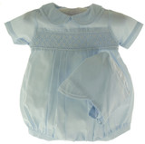 Newborn Boys Blue Smocked Bubble Outfit- Petit Ami