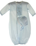 Newborn Baby Boys Blue Embroidered Take Home Sacque & Bonnet Petit Ami