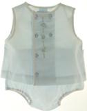 Newborn Baby Boys Blue Sleeveless Diaper Set Petit Ami