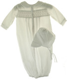 Newborn Baby Boys White Smocked Take Home Gown & Bonnet Petit Ami