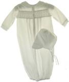 Newborn Baby Boys White Smocked Take Home Gown & Bonnet Petit Ami