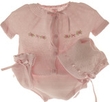 Newborn Girls Pink Knit Take Home Layette Set Willbeth