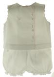 Newborn Baby Girls White Sleeveless Diaper Set Pink Trim Petit Ami