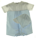 Newborn Baby Boys Blue & White Take Home Romper Outfit Petit Ami