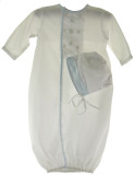 Newborn Boys White Embroidered Take Home Gown & Bonnet